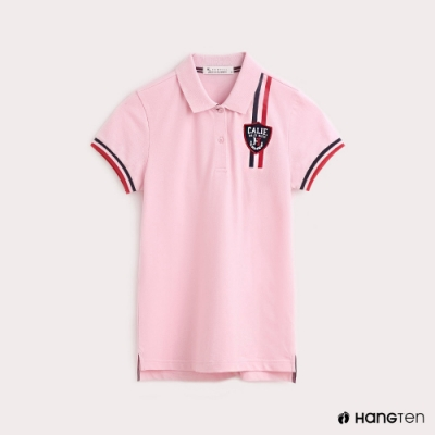 Hang Ten-女裝撞色線條彈性POLO衫-粉