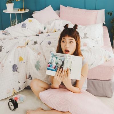 絲薇諾 MIT精梳純棉  白日夢櫻粉  雙人加大6尺-床包鋪棉被套四件組