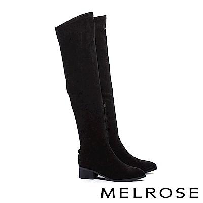 長靴 MELROSE 簡約俐落純色彈力麂布過膝高跟長靴-黑