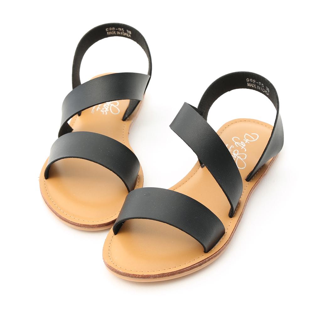 D+AF 漫步夏日.寬版斜帶設計平底涼鞋*黑