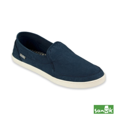 SANUK 女款 US5 復古水洗帆布休閒鞋(藍色)