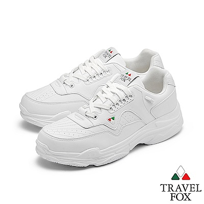 TRAVEL FOX(男) 時光機 高底輕量復刻休閒運動老爹鞋 - 高中白