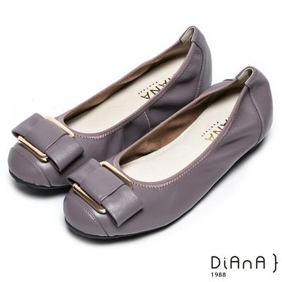 DIANA方釦蝴蝶結真皮圓頭平底娃娃鞋-都市歐風-紫灰