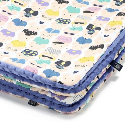 La Millou暖膚豆豆毯(加大款)-繽紛萌萌豬-地中海藍-四季毯寶寶毯嬰兒毯遊戲墊毛毯