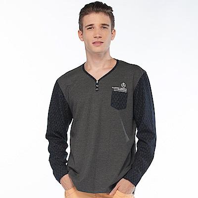 歐洲貴族oillio 長袖T恤 紳士口袋 簡單穿搭 灰色