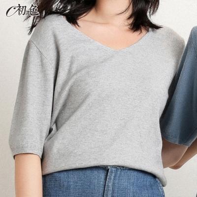 初色  V領薄款針織衫-灰色-(M-2XL可選)