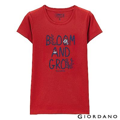 GIORDANO 女裝可愛植物印花短袖T恤-14 高貴紅