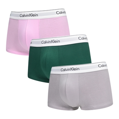 Calvin Klein Modern Cotton Stretch 男內褲 高彈性棉質短版合身四角褲/CK內褲-粉、草綠、灰 三入組