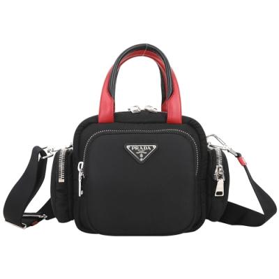 PRADA Nylon Cargo 多口袋設計尼龍手提斜背包(黑色)