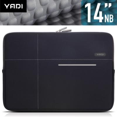 YADI 14吋NB筆記型電腦專用內袋_抗衝擊_防震機能_星夜黑