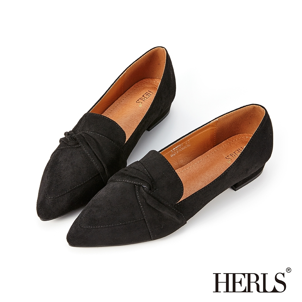 HERLS樂福鞋-內真皮扭結麂皮絨尖頭低跟鞋樂福鞋-黑色