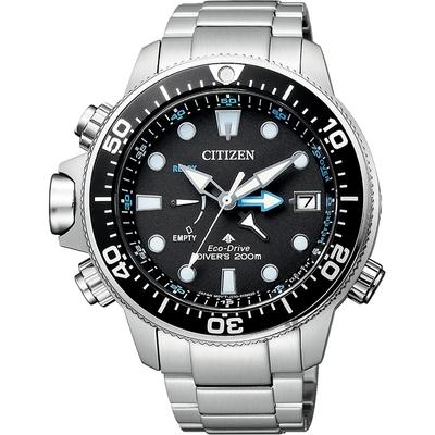 CITIZEN 星辰 PROMASTER 光動能200米潛水錶-黑x銀/46mm BN2031-85E
