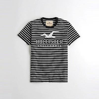 HCO Hollister 海鷗 經典電繡文字大海鷗圖案短袖T恤-黑白條紋色