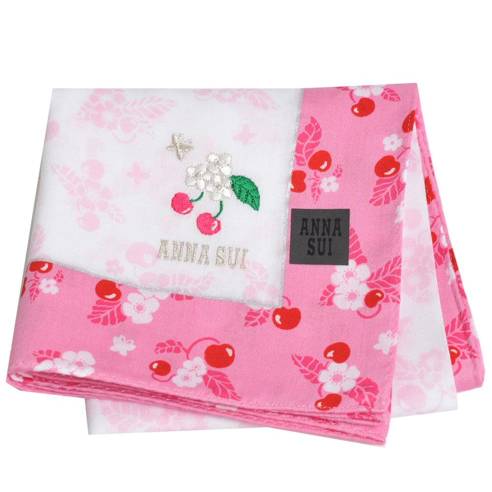 ANNA SUI 繽紛櫻桃可愛櫻桃蝴蝶字母LOGO刺繡帕領巾(粉紅邊)