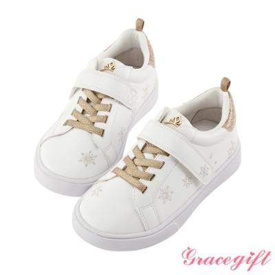 Disney collection by gracegift冰雪奇緣雪花刺繡童鞋 金