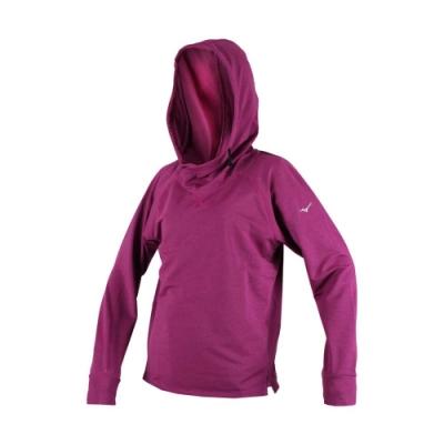 MIZUNO 女保暖長袖連帽T恤-慢跑 路跑 健身 帽T 美津濃 葡萄紫