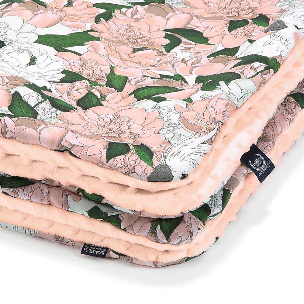 La Millou暖膚豆豆毯(加大款)-格格牡丹花(粉嫩氣質膚)