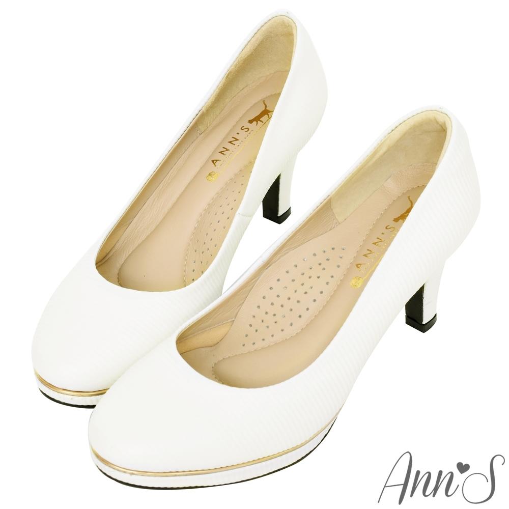 Ann'S美腿公式-小羊皮金色夾心防水台圓頭高跟鞋-白