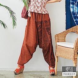 潘克拉 梵文圖騰束腰飛鼠褲-橘色