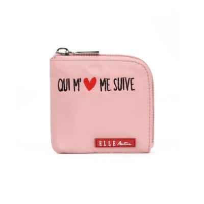 ELLE Active 熱愛追隨系列-短夾/零錢包-粉紅色