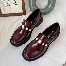韓國KW美鞋館 優雅珍珠質感大頭鞋-酒紅