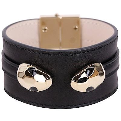 BVLGARI 寶格麗 Serpenti Hypnotic 雙蛇頭黑色牛皮寬版手環