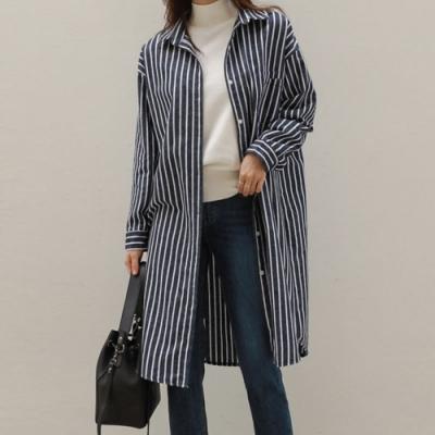 La Belleza箭形紋路直紋長版條紋開釦襯衫罩衫外套