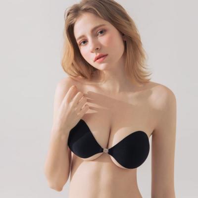 AIR SPACE 布面親膚前釦爆乳隱形胸罩 (黑)
