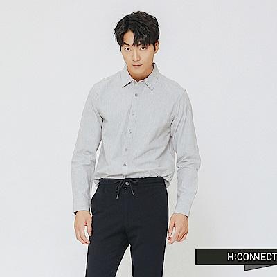 H:CONNECT 韓國品牌 男裝-素面柔軟棉質襯衫-灰
