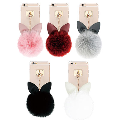 DDPOP iPhone 6/6S 韓流明星手機殼 療癒兔兔吊飾款