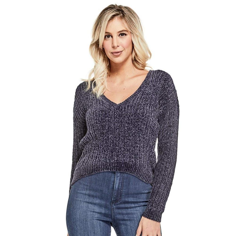 GUESS-女裝-短版時尚V領針織衫-深藍 原價2290