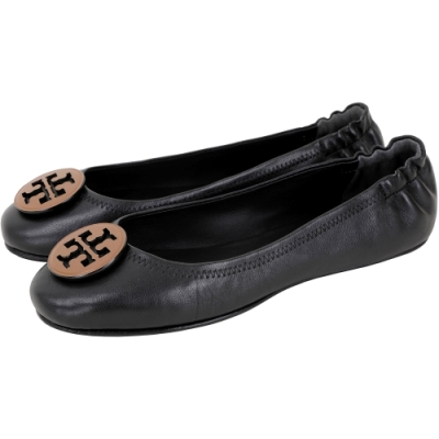 TORY BURCH Minnie Travel 撞色雙T盾牌折疊平底鞋(黑色)