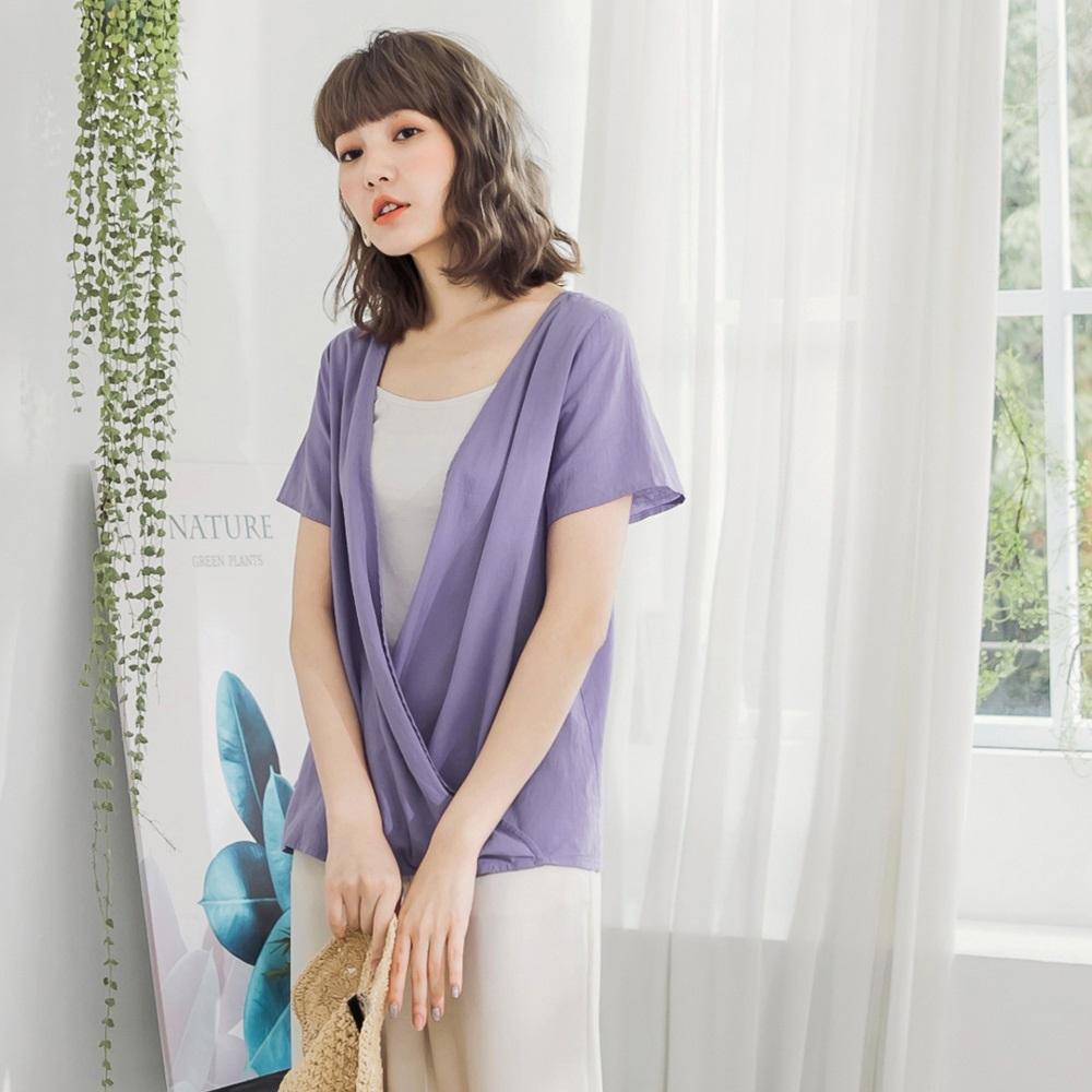 粉紫高棉交疊設計前後兩穿短袖上衣-OB大尺碼