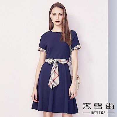 【麥雪爾】經典格紋綁帶造型傘襬洋裝