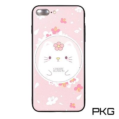 PKG Apple IPhone 7/8 Plus 彩繪保護殼-浮雕彩繪-淺粉貓