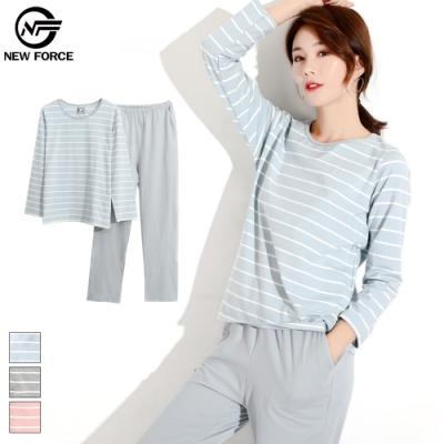 NEW FORCE 長袖棉質條紋睡衣套裝-藍白