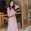 iMODA STAR-臧芮軒。純色毛感雪紡交叉V領長袖洋裝