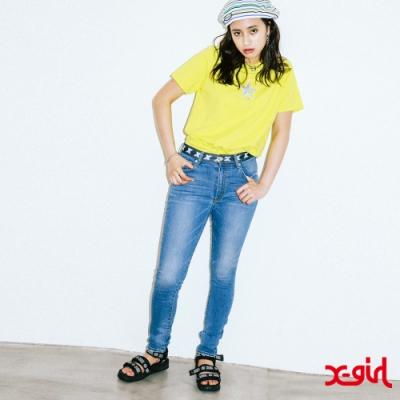 X-girl LOGO TAPE NEW STRETCH JEAN窄管牛仔褲-深藍