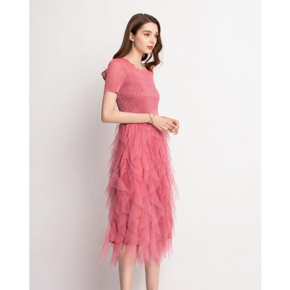 優雅素色花形領不規則網紗洋裝-F(共三色)-糖潮