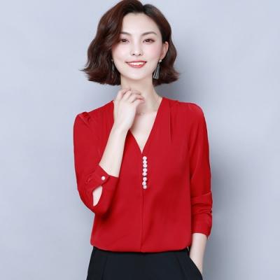 ALLK 縫釦雪紡衫上衣 共2色(尺寸M-XXL)