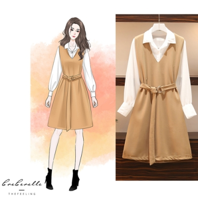 2F韓衣-簡約襯衫腰帶連身裙套裝-2色-新(L-2L)