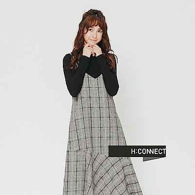 H:CONNECT 韓國品牌 女裝-細肩格紋洋裝-棕