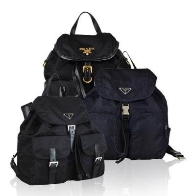 [時時樂限定]PRADA TESSUTO LOGO尼龍釦式束口後背包(三款均價)
