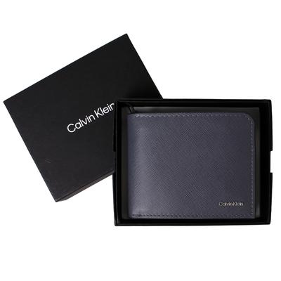 【Calvin Klein】ck立體LOGO防刮皮革零錢袋男短夾/皮夾(迷霧藍)