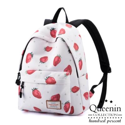 DF Queenin日韓 - 散發青春活力酸甜草莓防潑水雙肩後背包