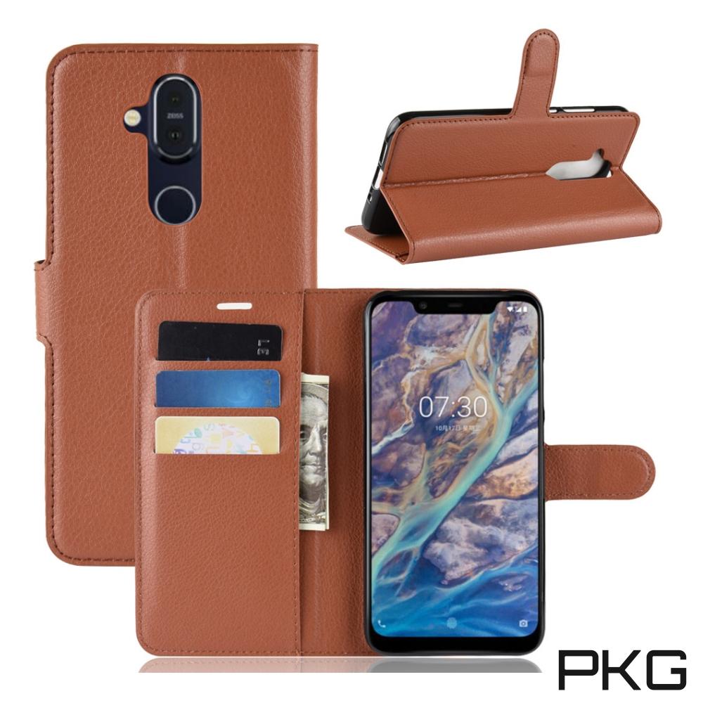 PKG Nokia 8.1 側翻式-精選皮套-經典款式-棕