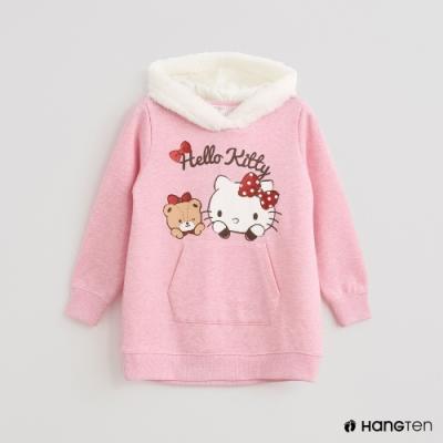 Hang Ten-童裝-Sanrio-素面童趣印花毛呢連帽刷毛上衣-粉