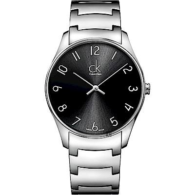 Calvin Klein CK Classic 極簡經典腕錶-黑x銀/38mm