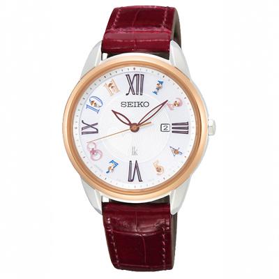SEIKO精工 LUKIA晶鑽太陽能時尚真皮手錶SUT370J1-玫瑰金框/32.9m