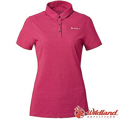 Wildland 荒野 P1603-09桃紅色 女POLARTEC排汗POLO衫